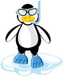 Cartoon of the penguin in mask and flipper. Penguin in flipper and mask cost stand on block of ice Royalty Free Stock Image