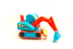 Cartoon penguin pororo sitting in the excavator Royalty Free Stock Images