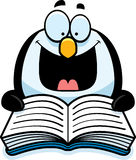 Cartoon Penguin Reading Stock Photo