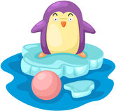 Cartoon penguin on snow ice Stock Photo