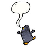 Cartoon penguin with speech bubble Stock Images