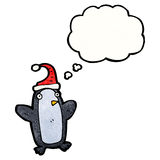 cartoon penguin with thought bubble Royalty Free Stock Photos