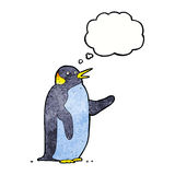 Cartoon penguin waving with thought bubble Stock Images