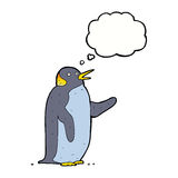Cartoon penguin waving with thought bubble Royalty Free Stock Image