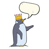 Cartoon penguin wearing crown with speech bubble Stock Photos
