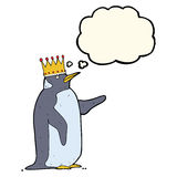 Cartoon penguin wearing crown with thought bubble Royalty Free Stock Images
