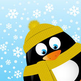 Cartoon penguin on winter background Royalty Free Stock Photography
