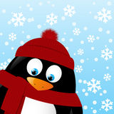 Cartoon penguin on winter background Royalty Free Stock Photo