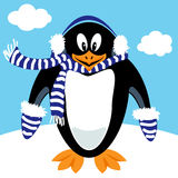 Cartoon penguin winter gear Stock Images