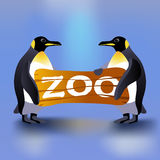 Cartoon penguins holding zoo plate Stock Images