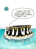 Cartoon about penguins' resemblance Royalty Free Stock Image