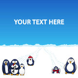 Cartoon penguins in snow polar landscape - vector background stock illustration