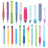 Cartoon Pens And Pencils. Writing Pen, Drawing Pencil And Highlighter Marker Vector Illustration Set Stock Photography