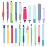 Cartoon pens and pencils. Writing pen, drawing pencil and highlighter marker vector illustration set stock illustration