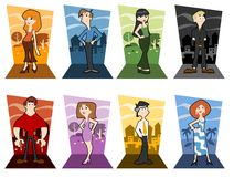 Cartoon people. Group of people wearing colorful clothes Royalty Free Stock Images