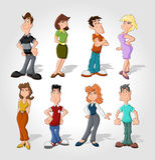 Cartoon people. Group of happy cartoon people Royalty Free Stock Photos