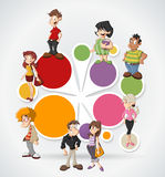 Cartoon people. Group of cute happy cartoon people Stock Image