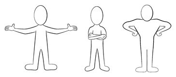 Cartoon people black and white. Vector illustation of some hand drawn cartoon people in black and white Stock Image