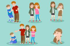 Cartoon people with bullying problem. On the blue background Royalty Free Stock Photos