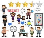 Cartoon People with Business Concepts. Cartoon Business and Communication Concepts Vector Illustration Set royalty free illustration