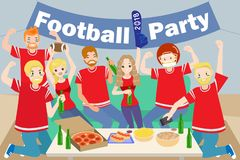 People with football party Stock Image