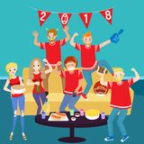 People with football party Royalty Free Stock Photo