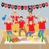 People with football party Stock Photos