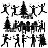 Cartoon People Celebrating Christmas. Christmas & New Year Celebrating with Family, in Group, with Coworkers. Corporate Party Concept. Stick Fiure Pictogram Icon stock illustration