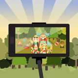 Cartoon people characters in forest taking selfie photo on their smartphone. Happy family go camping. Vector stock illustration