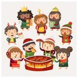 Cartoon people at Christmas market having fun vector illustration