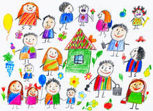 Cartoon people collection, child drawing object on paper, hand drawn art picture Royalty Free Stock Photos