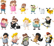 Cartoon people. Colorful cute happy cartoon people Royalty Free Stock Images