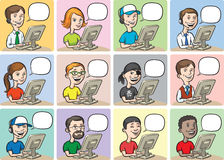 Cartoon people and computers Royalty Free Stock Photos