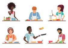 Cartoon people cooking set isolated vector illustration. Cartoon people cooking set isolated vector illustration royalty free illustration