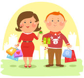 Cartoon people - Couple with shopping bags Stock Photos