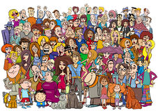 Cartoon people in the crowd. Cartoon Illustration of Large People Group in the Crowd Royalty Free Stock Photos