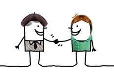 Cartoon people - different men handshake Royalty Free Stock Photo