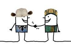Cartoon people - different men handshake Stock Photos
