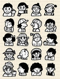Cartoon people doodle. 20 cute cartoon people icon,vector illustration Royalty Free Stock Photography