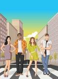 Cartoon people on downtown street vector illustration