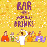 Cartoon people drinking at the bar. Including cocktails and drinks title. Hand drawn colorful vector cartoon illustration for your design Royalty Free Stock Image