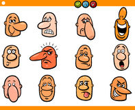 Cartoon people emoticons heads set Royalty Free Stock Image