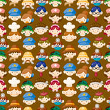 Cartoon people face seamless pattern Stock Image