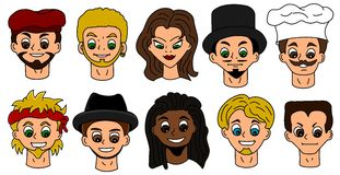 Cartoon people faces Stock Image