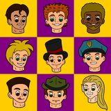 Cartoon people faces Royalty Free Stock Photo