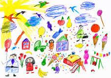 Cartoon people and funny toy collection, children drawing object on paper, hand drawn art picture Stock Image