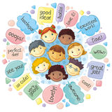 Cute Personages Gathering For Communication Royalty Free Stock Photo