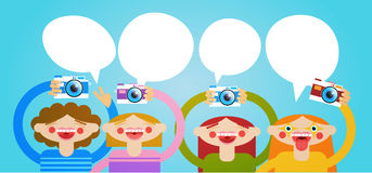 Cartoon People Group Holding Photo Camera Photography Blogger Royalty Free Stock Photo