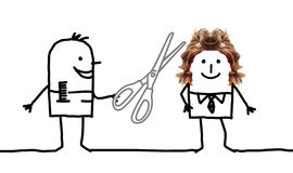 Cartoon people - hairdresser and man hairstyle royalty free stock photo