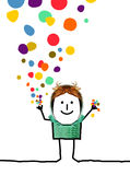 Cartoon people - Happy boy with confetti stock photo